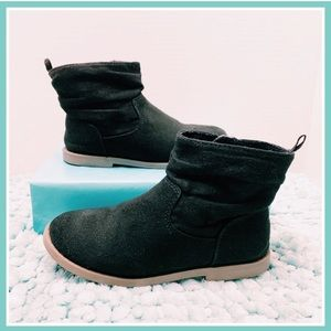 Girls Black Faux Suede Microfiber Ankle Boots